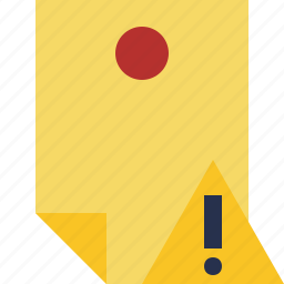 document, memo, note, pin, reminder, sticker, warning icon