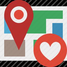 favorites, gps, location, map, marker, navigation, pin icon