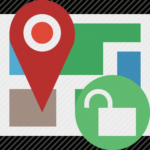 gps, location, map, marker, navigation, pin, unlock icon