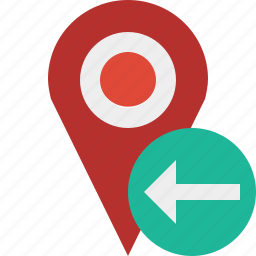 gps, location, map, marker, navigation, pin, previous icon