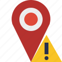 gps, location, map, marker, navigation, pin, warning icon