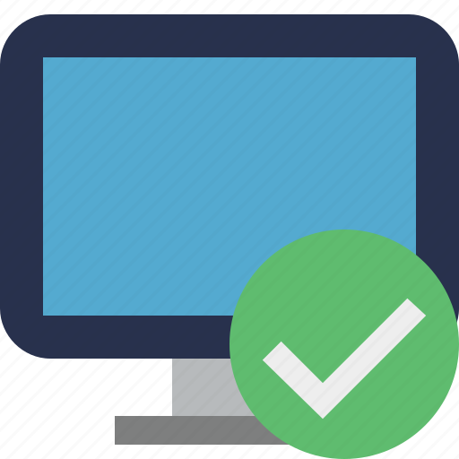 computer, desktop, display, monitor, ok, screen icon