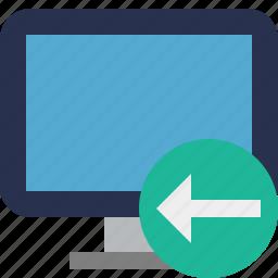 computer, desktop, display, monitor, previous, screen icon