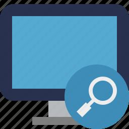 computer, desktop, display, monitor, screen, search icon
