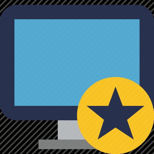 computer, desktop, display, monitor, screen, star icon