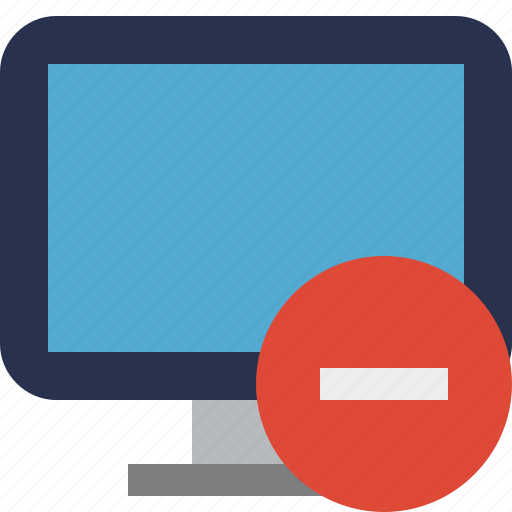computer, desktop, display, monitor, screen, stop icon