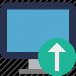 computer, desktop, display, monitor, screen, upload icon