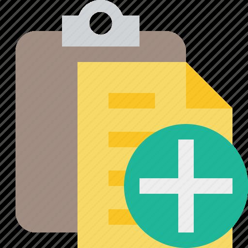 add, clipboard, copy, paste, task icon