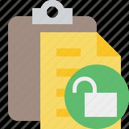 clipboard, copy, paste, task, unlock icon