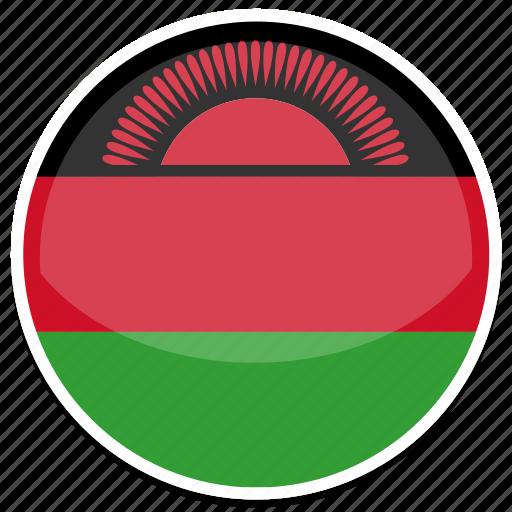 circle, flag, flags, malawi, round icon