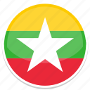 circle, flag, flags, myanmar, round icon
