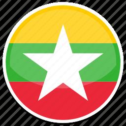 circle, flag, flags, myanmar, round icon