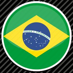 brazil, circle, flag, flags, round icon