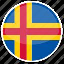 aland, flag, round icon