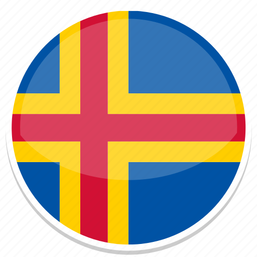 aland, flag, round icon