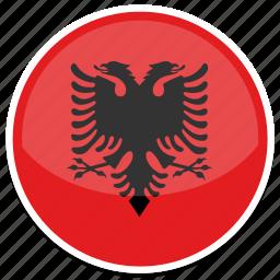albania, flag, round icon