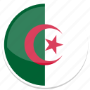 algeria, flag, round icon