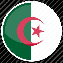 algeria, flag, round icon