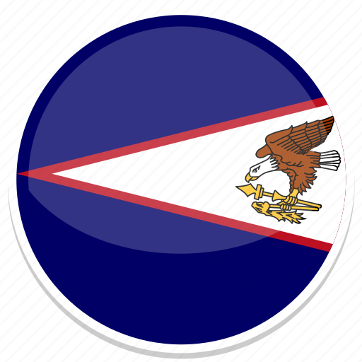 american, flag, round, samoa icon