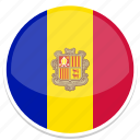 andorra, flag, round icon