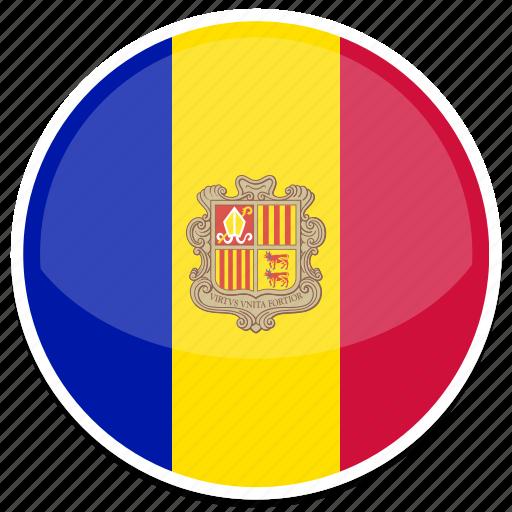 andorra, flag, round icon