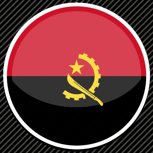 angola, flag, round icon