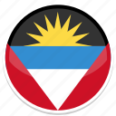 and, antigua, barbuda, circle, flag, flags, round icon