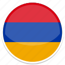 am, armenia, circle, flag, round icon