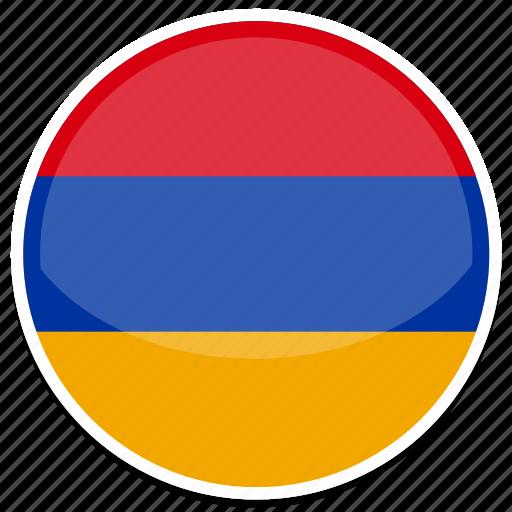 am, armenia, circle, flag, round icon