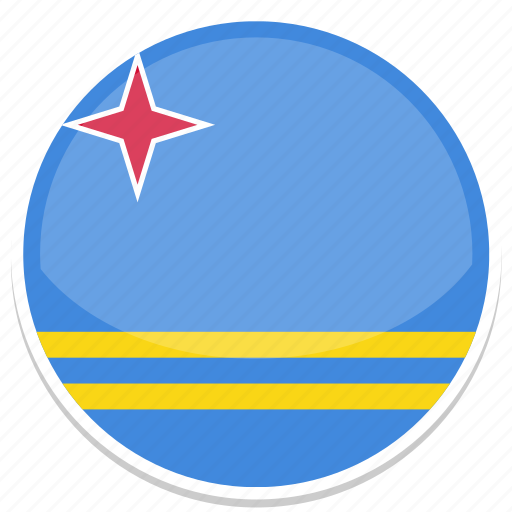 aruba, aw, flag, round icon