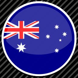 au, australia, flag, round icon