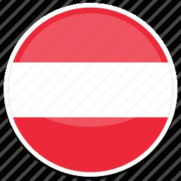 at, austria, flag, round icon