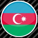 az, azerbaijan, flag, round icon