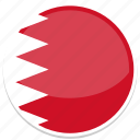 bahrain, flag, middle east, round icon