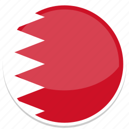 bahrain, flag, middle east, round icon