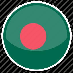 bangladesh, flag, round icon