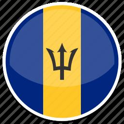 barbados, flag, round icon