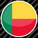 benin, flag, round icon