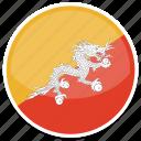bhutan, flag, round icon