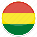 bolivia, flag, round icon