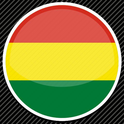 bolivia, flag, round icon