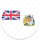 antarctic, british, english, flag, round icon