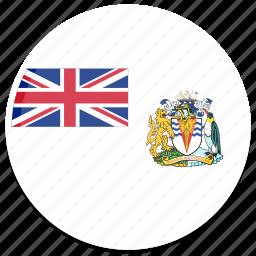 antarctic, british, english, flag, round icon