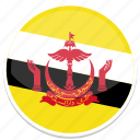 brunei, flag, round icon