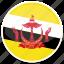 brunei, flag, round icon