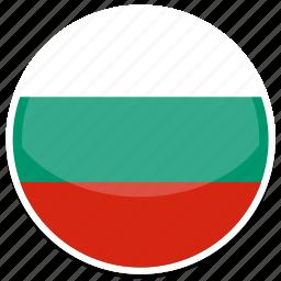 bulgaria, flag, round icon