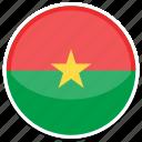 burkina, faso, flag, round icon