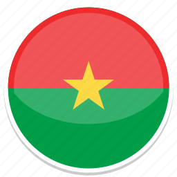 burkina, faso, flag, round icon