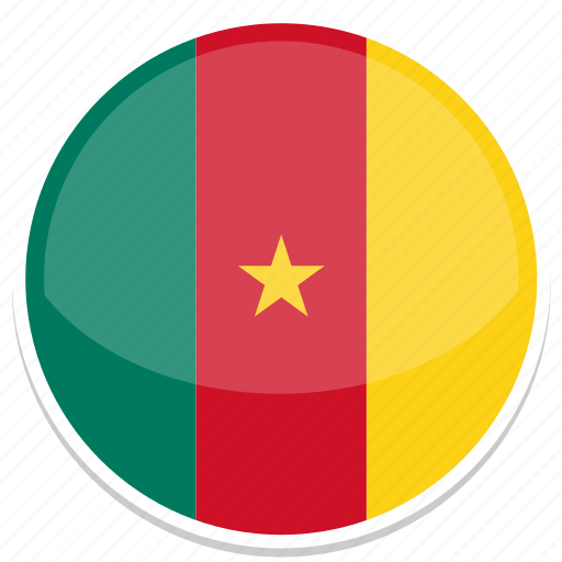 cameroon, flag, round icon