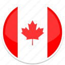 canada, flag, round, country, nation, national, world icon